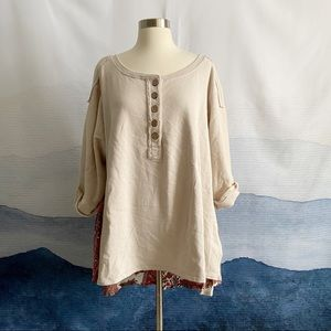 Free People Cool Baby Pullover Ivory Plaid Tunic